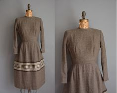 vintage 1950s dress / brown wool dress / 50s by simplicityisbliss