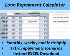 Excited to share this item from my #etsy shop: Loan Repayment Calculator / Tracker - EXCEL- Instant digital download - Home loan / Car loan / Loan Payoff Tracker