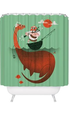 Loch Ness Monster Shower Curtain / Funny Nessie Shower Curtain / Made in USA / Great Decoration Gift for Bathroom Best Price