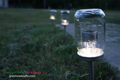 green owl crafts: Upcycled Mason Jar Solar Lights