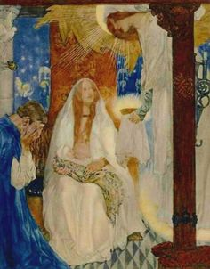 """""""And a maiden bare that Sangreal, and she said openly: 'Wit you well, Sir Bors, that this child is Galahad'"""" by William Russell Flint (1880-1969) from his suite for """"Le Morte d'Arthur: The Book of King Arthur and his Noble Knights of the Round Table"""" (1910-11)"""