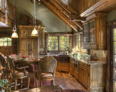 Log Houses Design, Pictures, Remodel, Decor and Ideas - Bar Chairs!!!