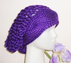 Hand Knit Womens Hat Purple Woman Slouchy Beanie by earflaphats, $30.00