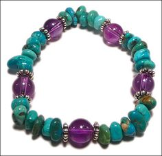 Turquoise Purple Magic Bracelet  by Michele Rose  Sometimes the most unusual color combinations make the most beautiful pieces. Rich amethyst round beads and unique turquoise chips create this magical combination. String these beads on Stretch Magic cord to make this a quick-and-easy bracelet project. There's no clasp, so just slip on your blue and purple gemstone bracelet anytime to add a pop of rich, bright color to your wardrobe.