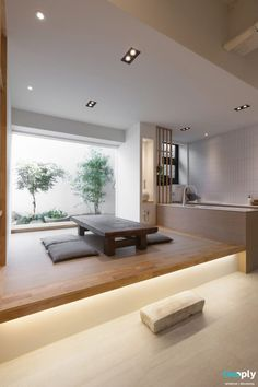 Lowered seating, natural light with neutral colors. Japan Interior, Interior Design Minimalist, Japanese Interior Design, Home Interior Design, Interior Architecture, Japan Architecture, Japanese Home Design, Japanese Style House, Zen Interiors