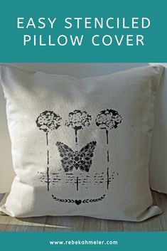 If you're looking for a special artistic touch to your home decor, these Stenciled Pillow Cover need to be on your radar. Stenciled Pillows, Diy Throw Pillows, Stencil Art, Stencil Designs, Stencils, Black Acrylic Paint, Black Lamps, Pillow Forms, Decor Crafts