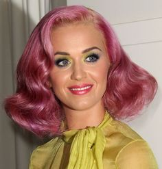 Katy Perry matches her pink hair to her lipstick.