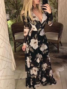 0358bcc598e63 Shop Floral Print V Neck Long Sleeve Maxi Dress – Discover sexy women  fashion at Boutiquefeel