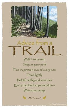 """Wedding Advice from a Trail: """"Every day has its ups and downs."""" Your True Nature Advice Quotes, Life Advice, Good Advice, Life Quotes, Hiking Quotes, Nature Quotes, Forest Quotes, True Nature, Best Memories"""