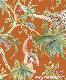 Holden Decor Jungle Animals wallpaper, shown here in orange from the Statement collections. Colourful and fun jungle animals, butterflies and birds on a contrasting orange background. Orange Wallpaper, Tropical Wallpaper, Butterfly Wallpaper, Animal Wallpaper, Textured Wallpaper, Wallpaper Online, Wallpaper Samples, Pattern Wallpaper, Wallpaper Uk