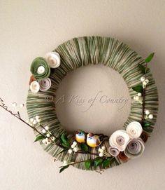 "Summer wreath - 14"" multicolor green yarn wreath with birds on Etsy, $50.00"