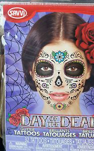 Sugar-Skull-Zombie-Day-of-the-Dead-Glitter-Tattoo-FLOWER-Mask-Halloween-NEW