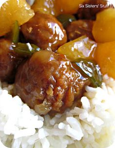 Slow Cooker Hawaiian Meatballs Recipe:    You can use pre-cooked frozen beef, or turkey, meatballs for this tasty dish. Serve over white rice.    Recipe @  http://www.sixsistersstuff.com/2012/04/slow-cooker-hawaiian-meatballs-recipe.html