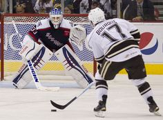 The Hershey Bears #17 Chris Bourque lining up to score during the overtime shootout. The Hartford Wolf Pack beat the The Hershey Bears 3-2 in overtime shootout in AHL Hockey at the Giant Center in Hershey after The bears tied up the game with 12 seconds on the clock on Sunday October 25, 2015.   Daniel Zampogna, PennLive