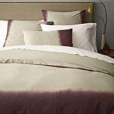 Dip-Dye Linen Cotton Blend Duvet Cover in Flax/Raisin from WestElm West Elm Bedding, Bedding Sets, Reclaimed Wood Furniture, Modern Furniture, Dip Dye, Williams Sonoma, Duvet Covers, Home Goods, Raisin