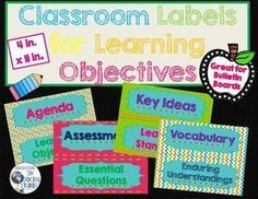 Learning Objective Labels for Bulletin Boards Classroom Labels, Classroom Organization, Classroom Decor, Classroom Management, Objective Bulletin Board, Bulletin Boards, Middle School Grades, Book Labels, Learning Objectives