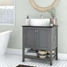 Beachcrest Home Naccarato Single Bathroom Vanity Set Base Finish: Grey Vessel Sink Vanity, Single Bathroom Vanity, Sink Faucets, Small Bathroom, Bathroom Ideas, Half Bathrooms, Bathroom Sinks, Corner Sink Bathroom, Single Vanities