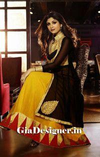 Shilpa Shetty Yellow Black Net Chiffon Anarkali Bollywod Replica Suit