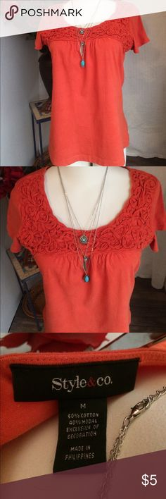 Cute top Great coral color. Seems brighter in picture. Just a little muted in person, but still vibrant. Gently worn and loved. Great soutache styling. 18.5 in approx across chest. Macy's Tops