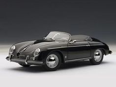 AUTOart 1:18 Porsche 356 Diecast Model Car - 77863 This Porsche 356 A Speedster European Version (1955) Diecast Model Car is Black and features working steering, suspension, wheels and also opening bonnet with spare wheel, boot with engine, doors. It is made by AUTOart and is 1:18 scale (approx. 24cm / 9.4in long).  #AUTOart #ModelCar #Porsche