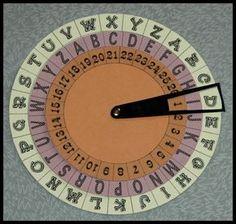 """Le cryptographe : imprimez les 3 cercles  sur papier cartonné + la """"lunette"""" fixer le tout avec une attache parisienne; Donner un indice pour le positionnement qui permettra de déchiffrer le message. Ex L'Avocat te guide"""" (A vaut K => A=K) , """"Commence avec  un thé """" => (1 = T)..."""