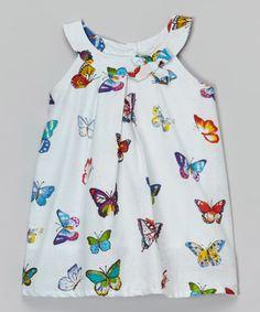 White & Red Butterfly Yoke Dress - Infant
