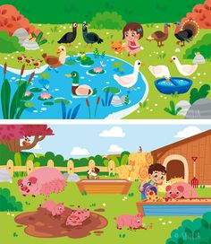 Kids Background, Farm Theme, Cartoon Pics, Children's Book Illustration, Art Reference, Childrens Books, Illustrator, Art Gallery, Drawings