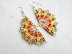 Macrame Earrings // Handmade // Purple // Textile Beaded Jewelry // OOAK// Elegant Oriental Design // Macramè Lace // Big Romantic Earrings