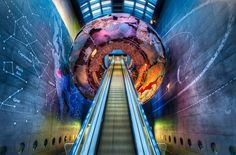 Photograph taken on the escalator leading to the Earthquake Room at the Natural History Museum in London, England.