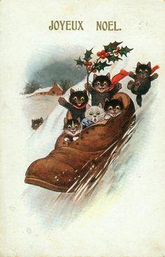 1920s Belgium Christmas postcard - cats sledding in shoe