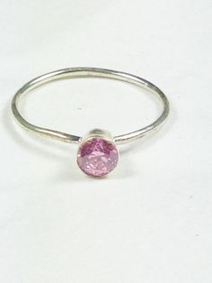 Kunzite Solitaire Ring or Engagement Ring by NorthCoastCottage Jewelry Design & Vintage Treasures www.etsy.com/... #stackables #engagementrings #gemstones #handmade #jewelry #jewellery #bridal #rings #pink #mothersday