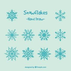 flocos de neve bonito desenhado mão Vetor grátis