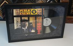 Public Enemy custom framed album using suede matting. Custom framed by FastFrame of LoDo.