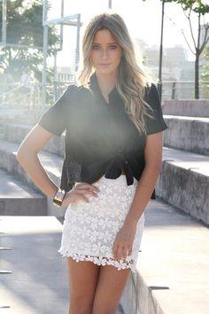 Street Style: Saia de Renda Branca | Chic Boom