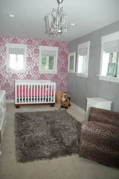 ooohhhhh  pink white and gray!!  accent wall