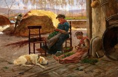 Adolfo Tommasi (Italian, 1851-1933)  The day's chores c.1930