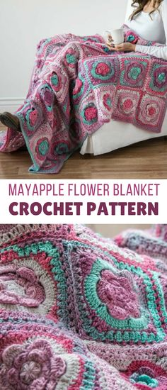 this crochet flower granny square type blanket pattern is sooooo pretty!! definitely a big project and undertaking though, but a gorgeous outcome #crochetblanketpattern #crochetblanket #crochetflowerblanketpattern #crochetgrannysquareblanketpattern #flowerblanketcrochet #crochetafghanpattern #crochetpatterns #crochet #affiliate
