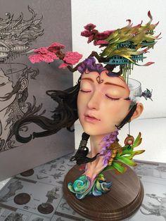 Spring Mang Taohua Island Four Seasons Fantasy City series By Yuan Xing Liang Chocolate Work, Fantasy Cake, Plaster Art, Baby Tattoos, Body Sculpting, Sugar Art, Clay Crafts, Cake Art, Sculpture Art