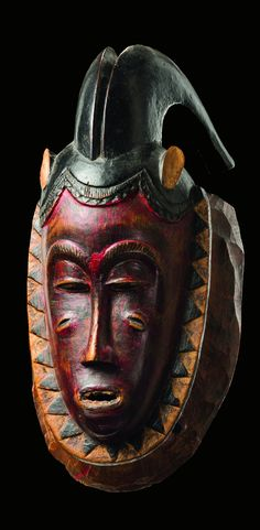 Africa | Mask ~ kpan pre ~ from the Baule people of the Ivory Coast | Wood, polychrome paint
