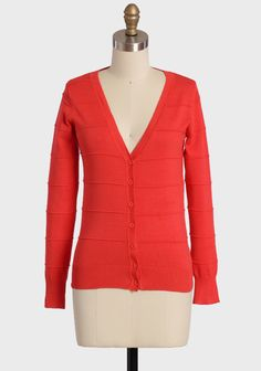"""Perfect Occasion Cardigan In Persimmon 34.99 at shopruche.com. Perfect for every day, this luxuriously soft cardigan in vibrant red-orange is a wardrobe essential with ribbed hems, front button closures, and textural stripes. Finished with a hint of stretch for a comfortable and flattering fit.80% Rayon, 20% Polyester, Imported, 22"""" length from top of shoulders"""