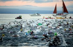 TAUPO, NEW ZEALAND - MARCH 02: Athletes start the New Zealand Ironman on March 2, 2013 in Taupo, New Zealand. (Photo by Phil Walter/Getty Images)