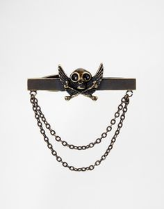 Noose & Monkey Skull & Wings Tie Bar With Chain
