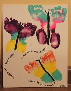 Butterfly footprints with names coming out the bottom. Paint craft for kids! Great grandparent gift!