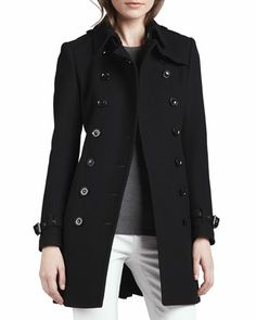 Wool-Blend Trench Coat, Black by Burberry Brit at Neiman Marcus.