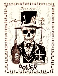 custom designed Baron Samedi T-shirts available in both Black or White. Baron Samedi is the overseer of life and death, he brings protection, liveliness, and humbles the arrogant. Baron Samedi, Papa Legba, Voodoo Tattoo, Marie Laveau, Voodoo Hoodoo, Witch Doctor, Voodoo Dolls, Arte Horror, Skull And Bones