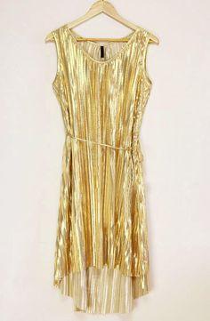 Irregular Hemline Sleeveless Scoop Neck Polyester Golden Dress - Sammydress.com  -  13 4739ddfb0