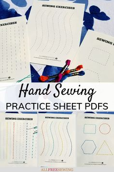 NEW from AllFreeSewing for #nationalsewingmonth: Hand Sewing Practice Sheets PDFs (Printable!) | This project is ideal for perfecting your hand sewing for amigurumi and other yarn crafts or getting kids interested in this hobby!
