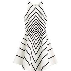 Halston Heritage Cotton Blend Dress ($360) ❤ liked on Polyvore featuring dresses, vestidos, short dresses, sukienki, multicolor, multi colored dress, striped asymmetrical dress, striped dress, stripe dress and white striped dress
