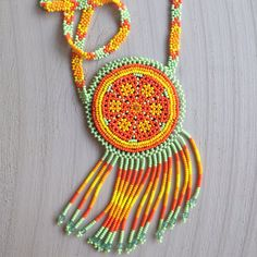 Native American Necklace Beaded Necklace Seed Bead by OCEANSOMIND