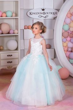 Ivory and Blue Tulle Flower Girl Dress  Birthday Wedding